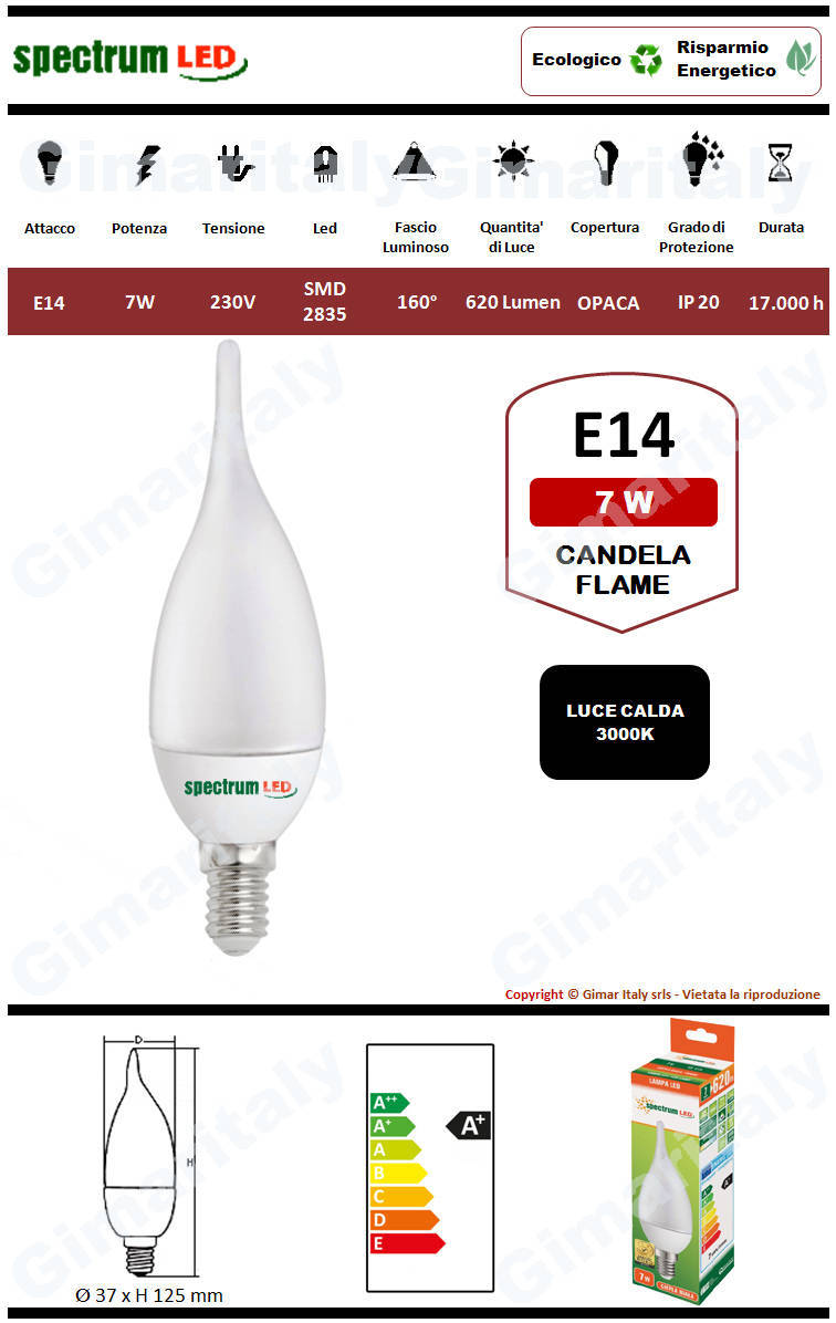 Lampadina Led E14 candela fiamma C37 7W luce calda Spectrum