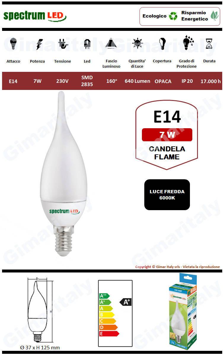 Lampadina Led E14 fiamma C37 7W luce bianca Spectrum