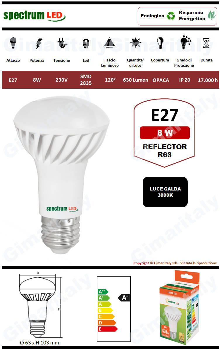 Lampadina Led E27 8W R63 Reflector luce calda Spectrum
