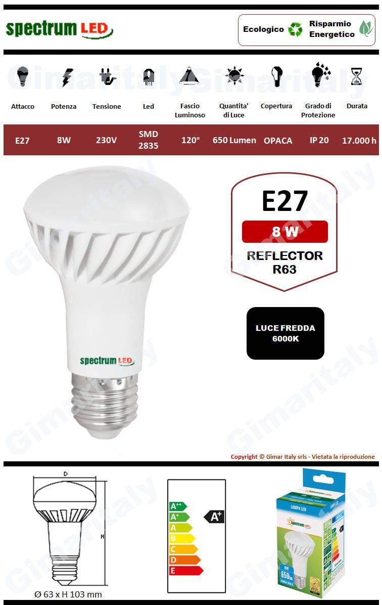 Lampadina Led E27 8W R63 Reflector luce fredda Spectrum