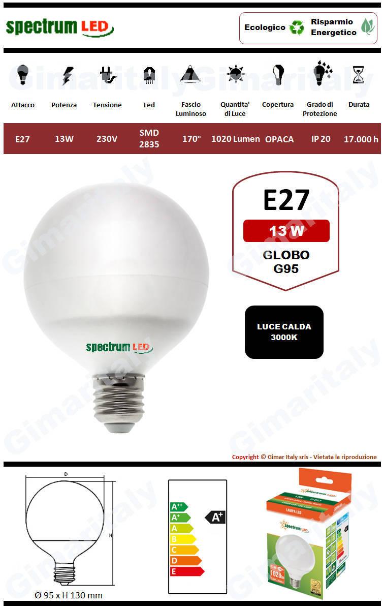 Lampadina Led E27 globo G95 13W luce calda Spectrum