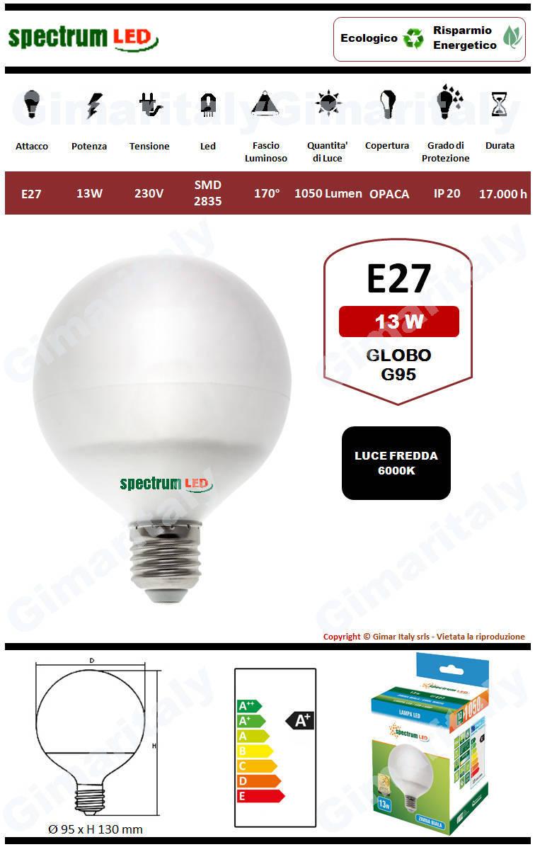 Lampadina Led E27 globo G95 13W luce fredda Spectrum