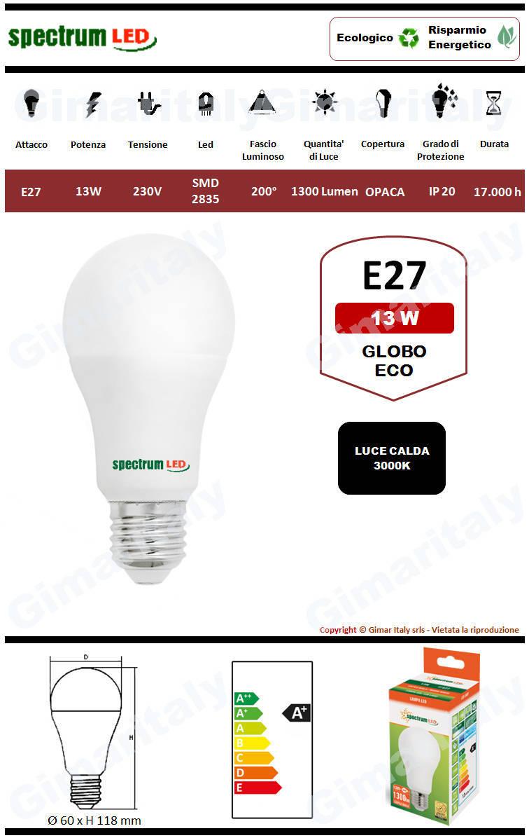 Lampadina Led E27 eco line 13W luce calda Spectrum