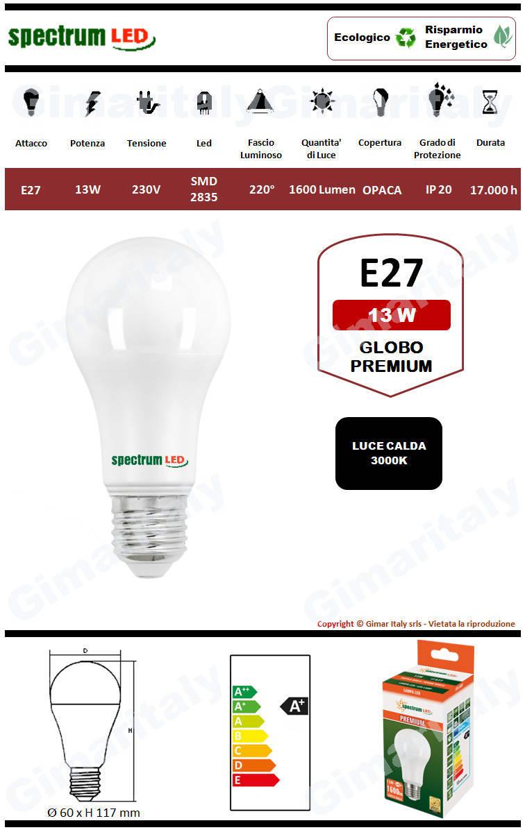 Lampadina Led E27 premium line 13W luce calda Spectrum