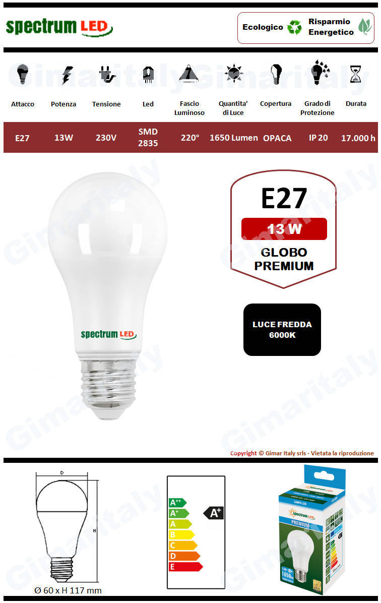 Lampadina Led E27 premium line 13W luce fredda Spectrum