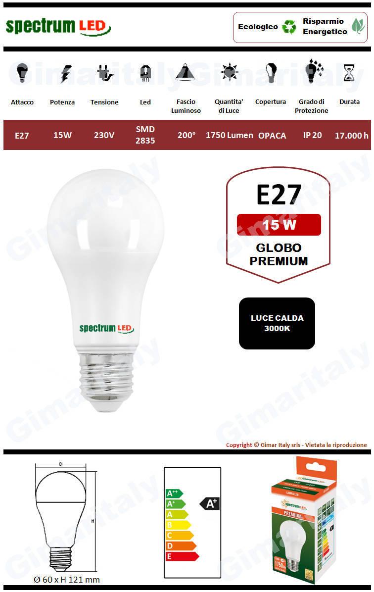 Lampadina Led E27 premium line 15W luce calda Spectrum