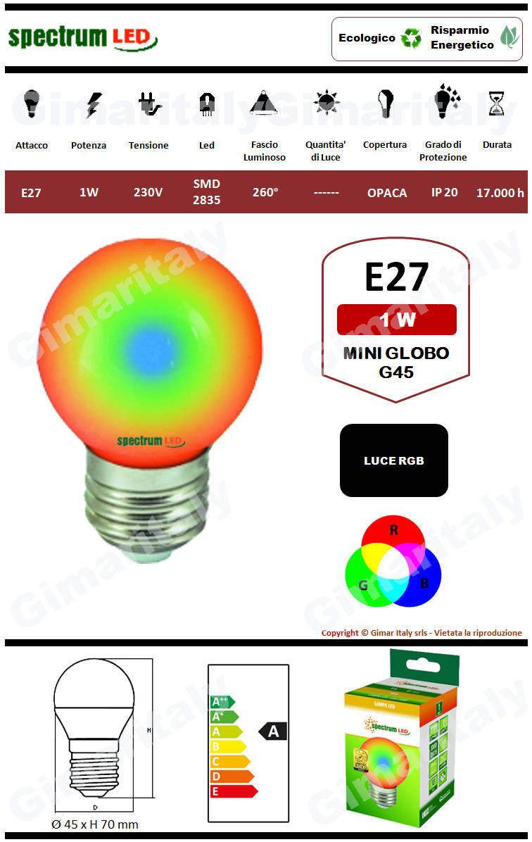 Lampadina Led E27 1W Miniglobo G45 RGB Spectrum