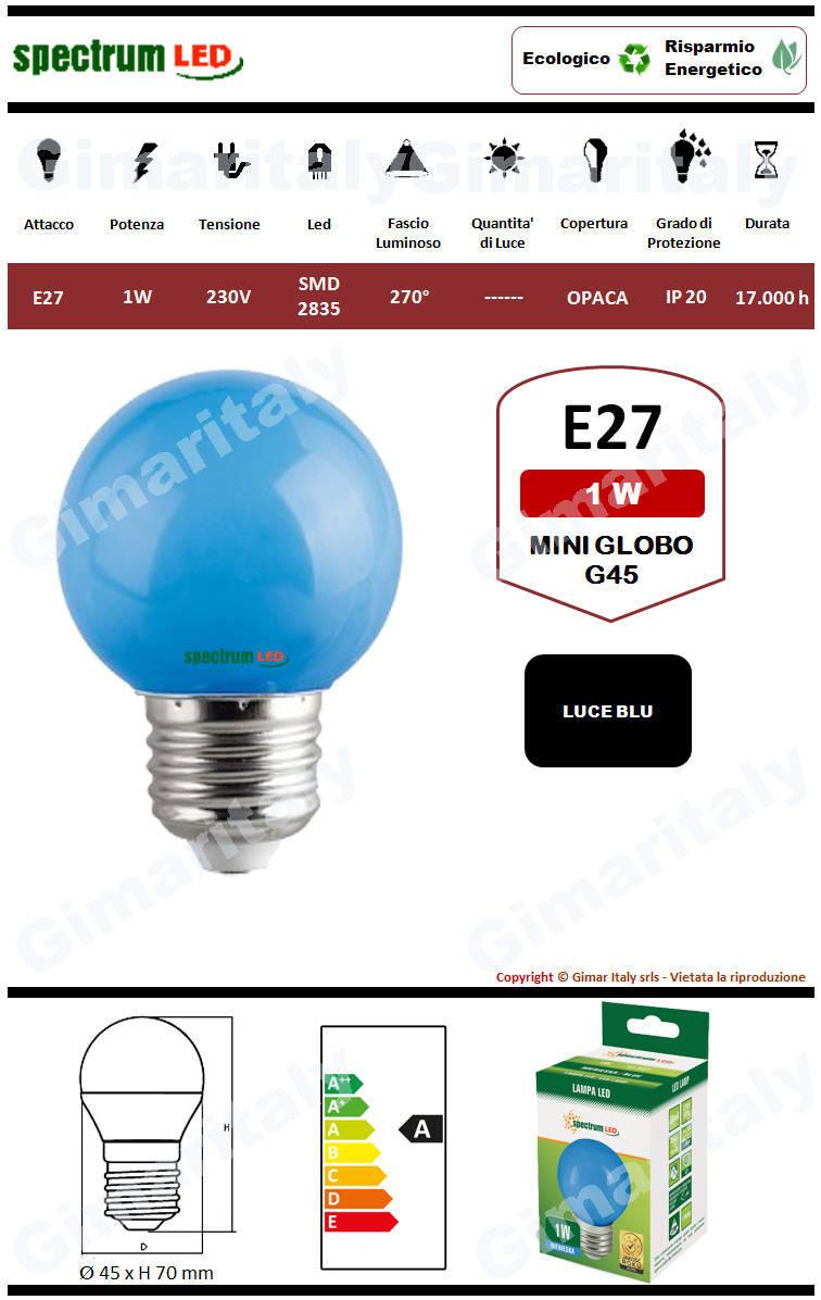 Lampadina Led E27 miniglobo G45 1W Blu Spectrum