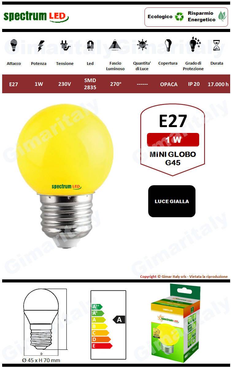 Lampadina Led E27 miniglobo G45 1W Gialla Spectrum