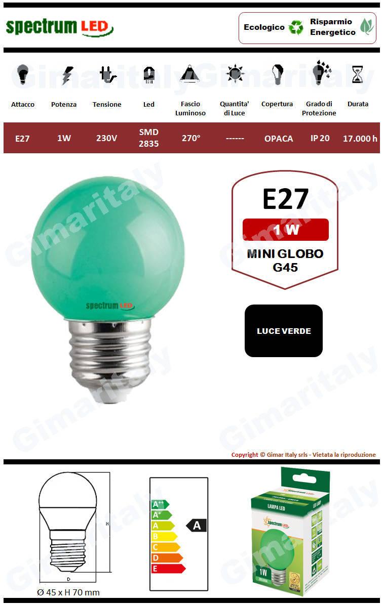 Lampadina Led E27 miniglobo G45 1W Verde Spectrum