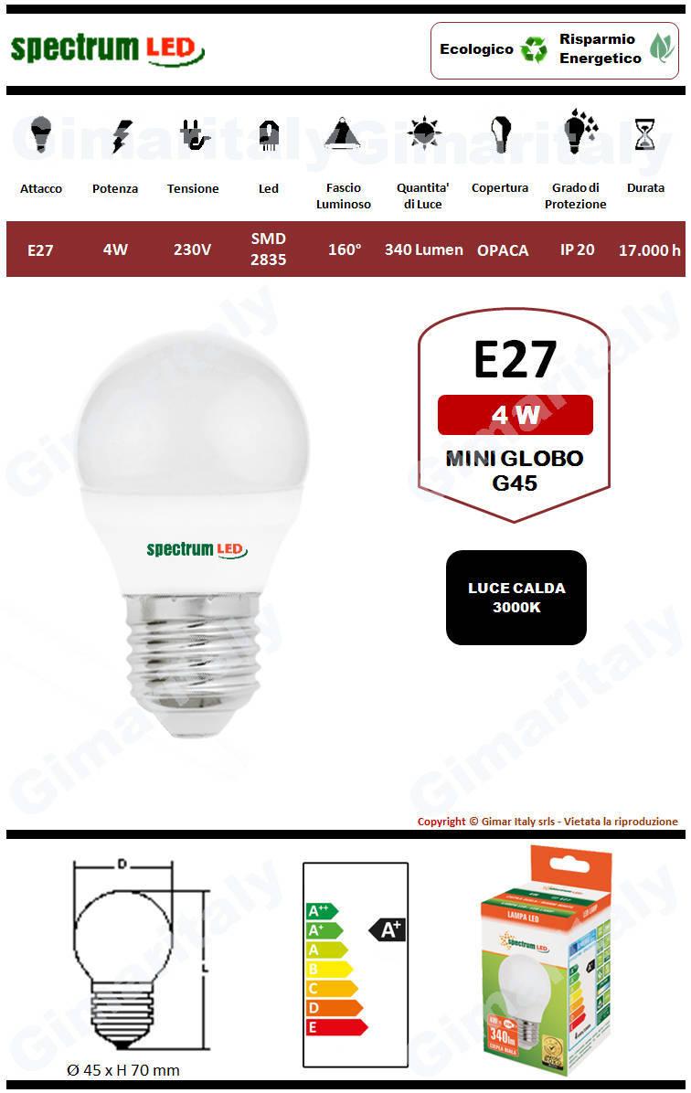 Lampadina Led E27 miniglobo G45 4W luce calda Spectrum