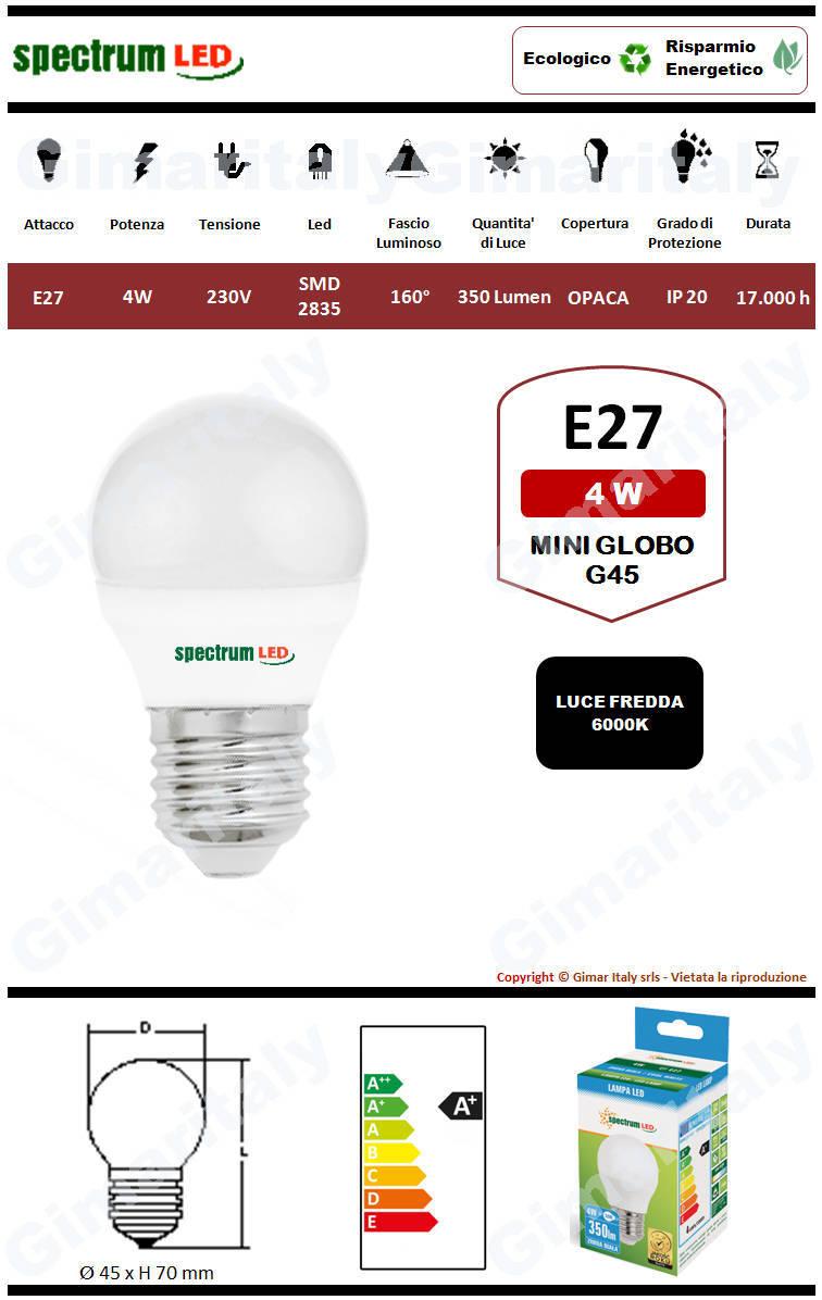 Lampadina Led E27 miniglobo G45 4W luce fredda Spectrum