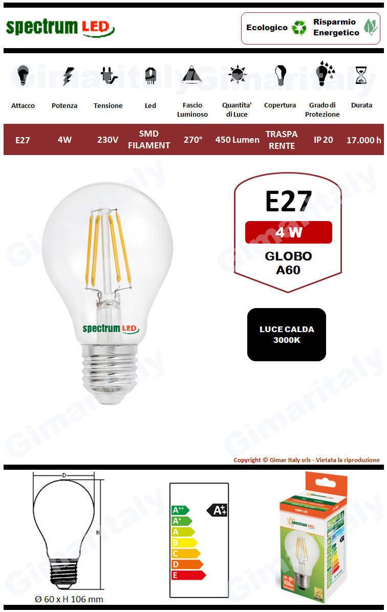 Lampadina Led E27 4W Globo A60 Filamento Spectrum