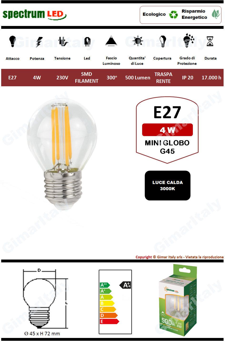 Lampadina Led E27 4W Miniglobo G45 Filamento Spectrum