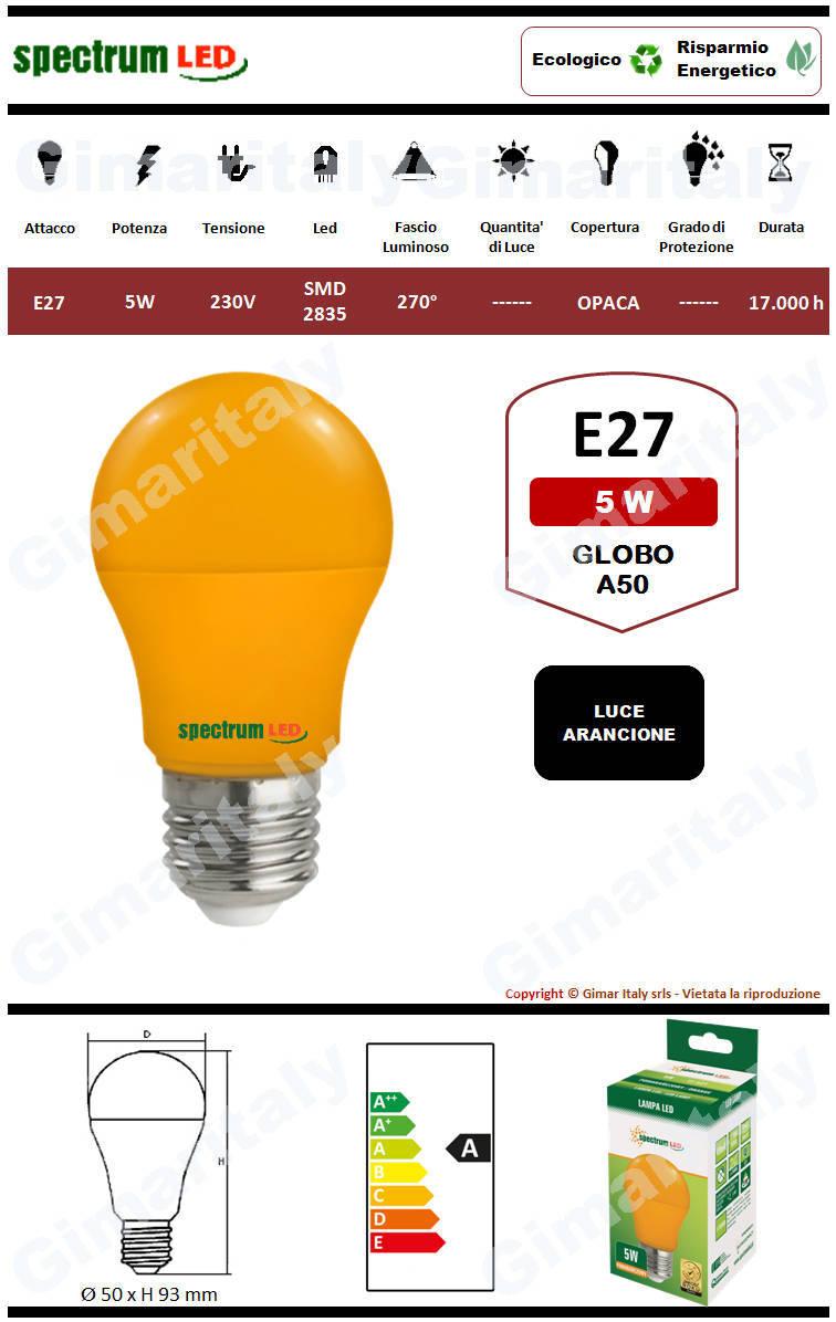 Lampadina Led E27 globo A50 5W Arancione Spectrum