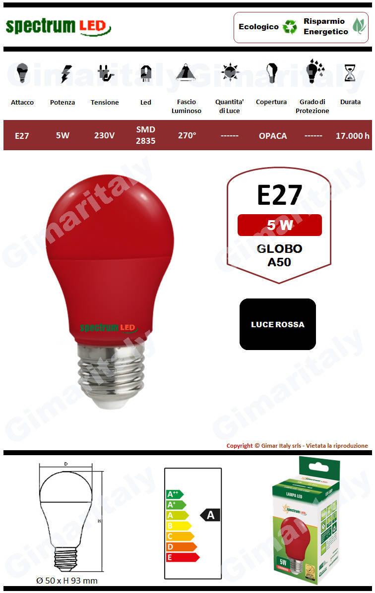 Lampadina Led E27 globo A50 5W Rossa Spectrum
