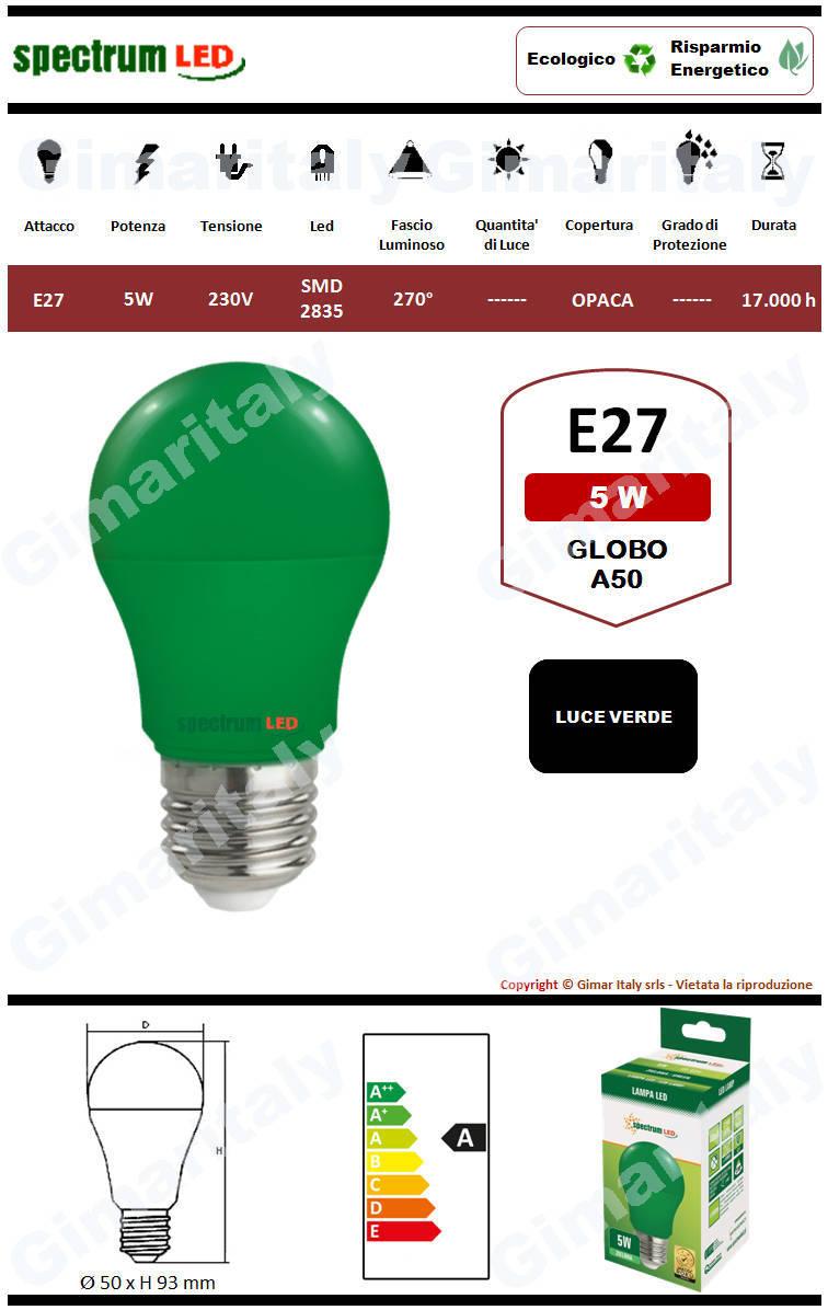Lampadina Led E27 globo A50 5W Verde Spectrum