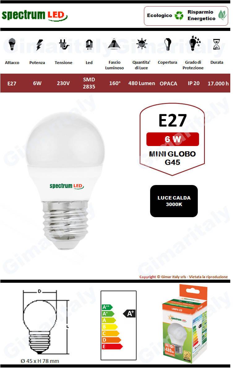 Lampadina Led E27 miniglobo G45 6W luce calda Spectrum