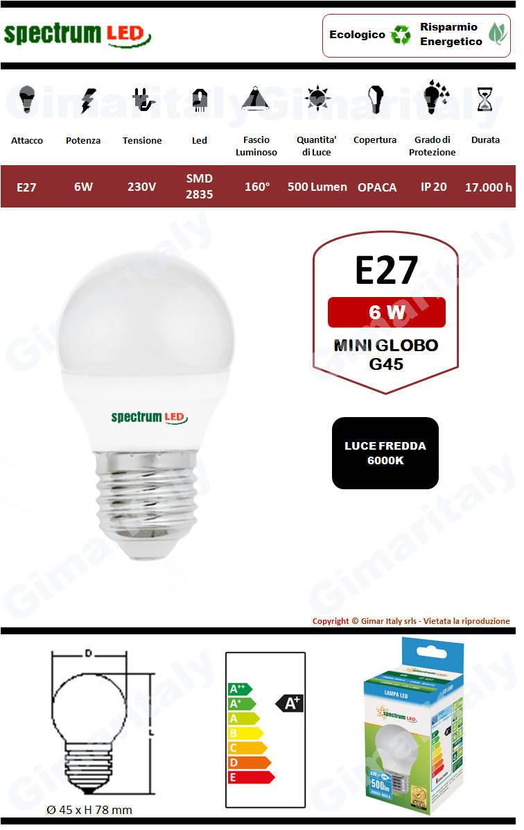 Lampadina Led E27 miniglobo G45 6W luce fredda Spectrum
