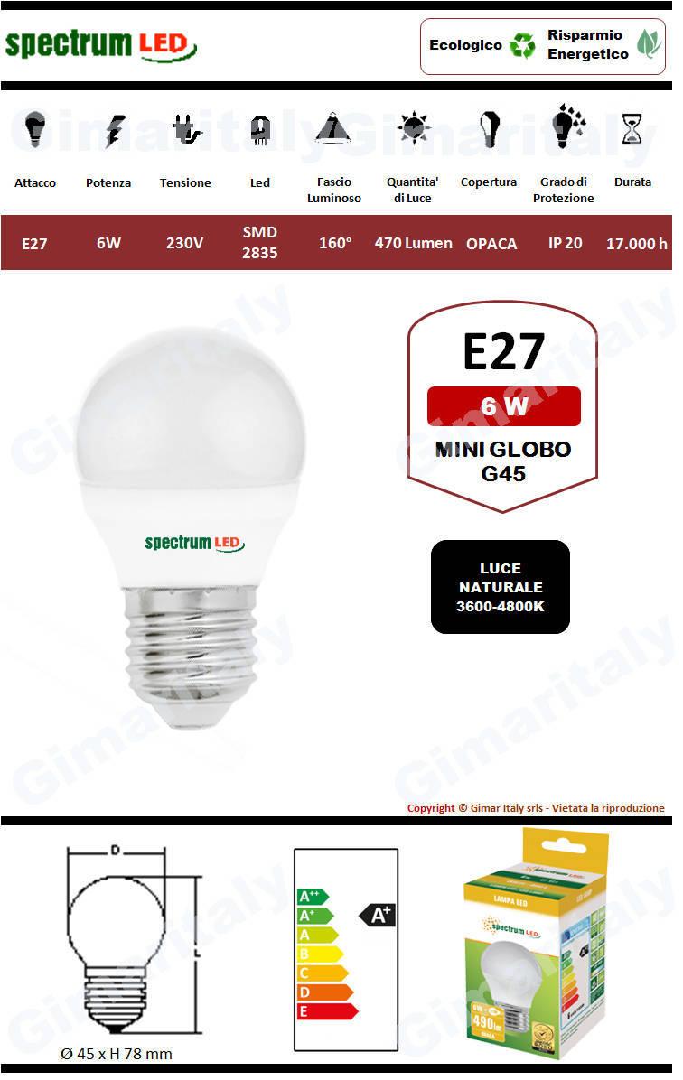 Lampadina Led E27 miniglobo G45 6W luce naturale Spectrum