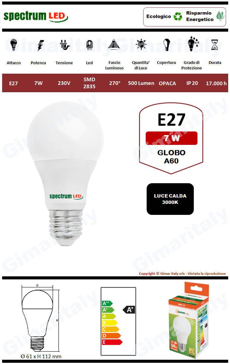 Lampadina Led E27 globo A60 7W luce calda Spectrum
