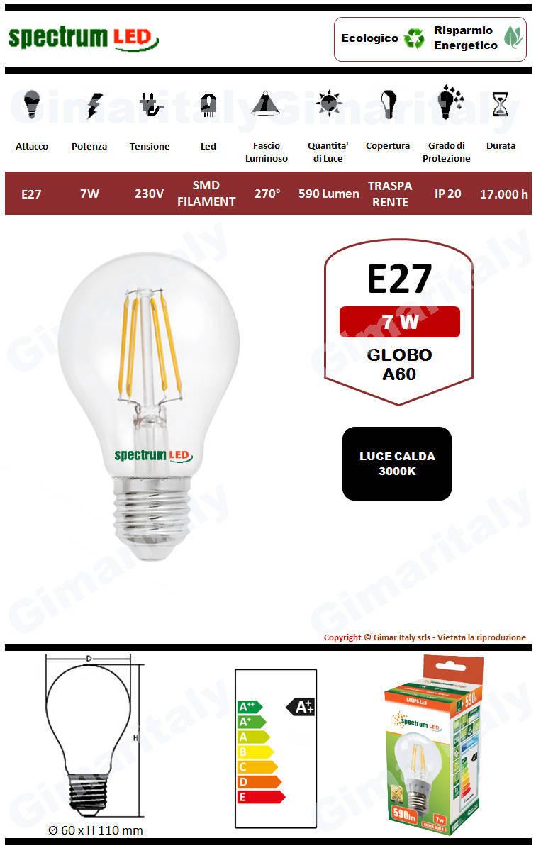 Lampadina Led E27 7W Globo A60 Filamento Spectrum