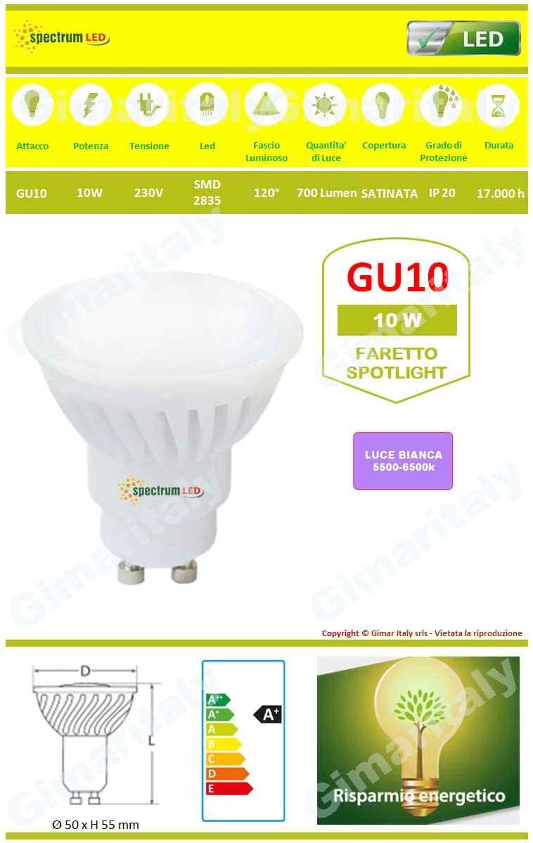 Lampadina Led GU10 10W luce bianca Spectrum