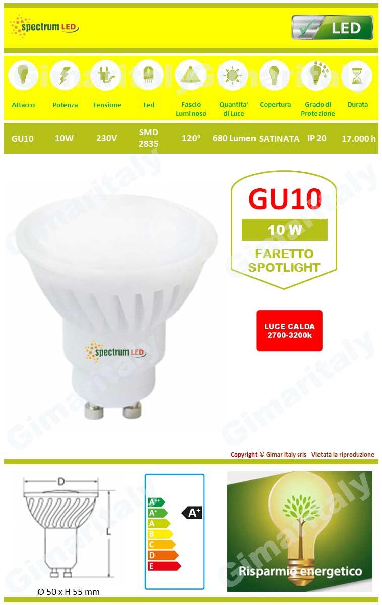 Lampadina Led GU10 10W luce calda Spectrum