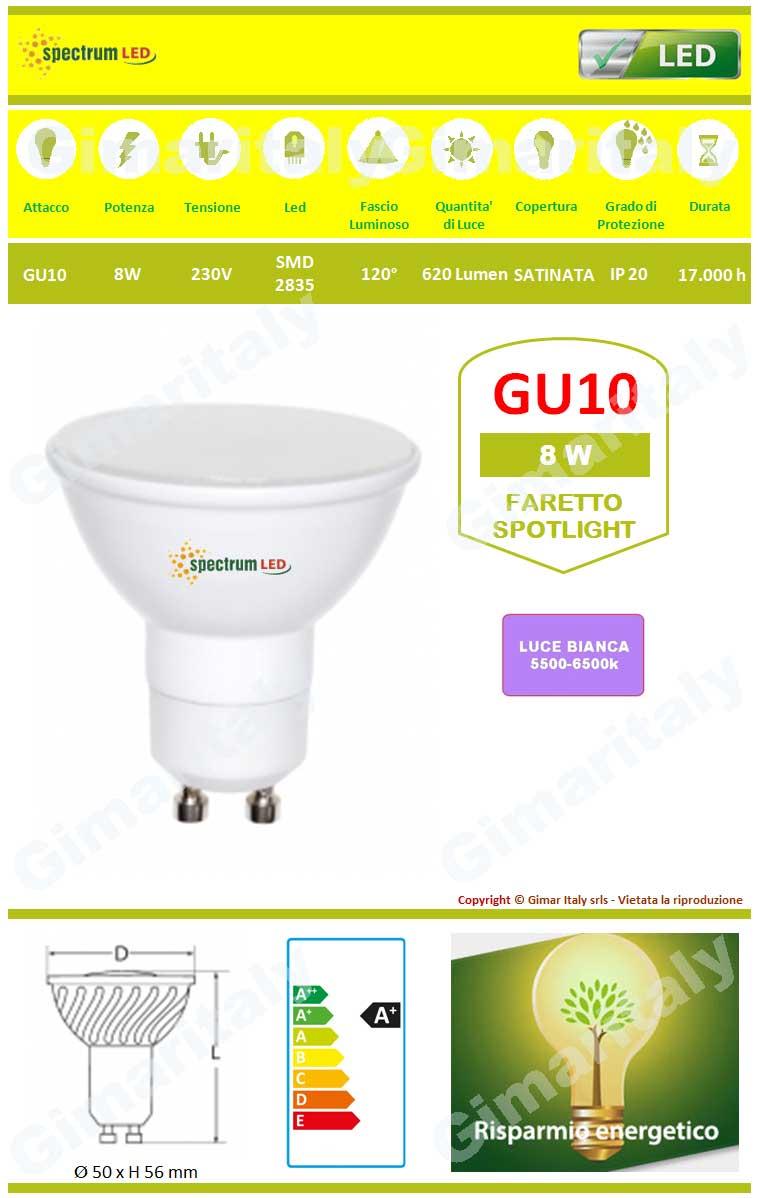 Lampadina Led GU10 8W luce bianca Spectrum