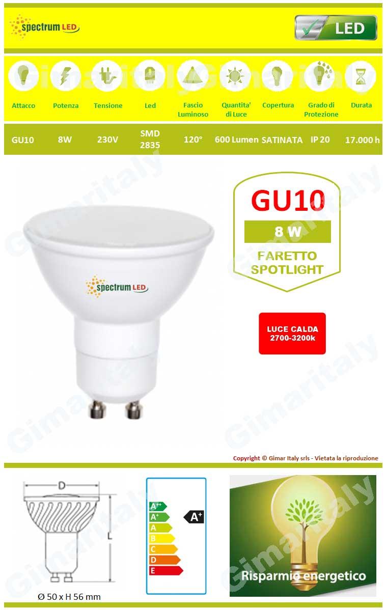 Lampadina Led GU10 8W luce calda Spectrum