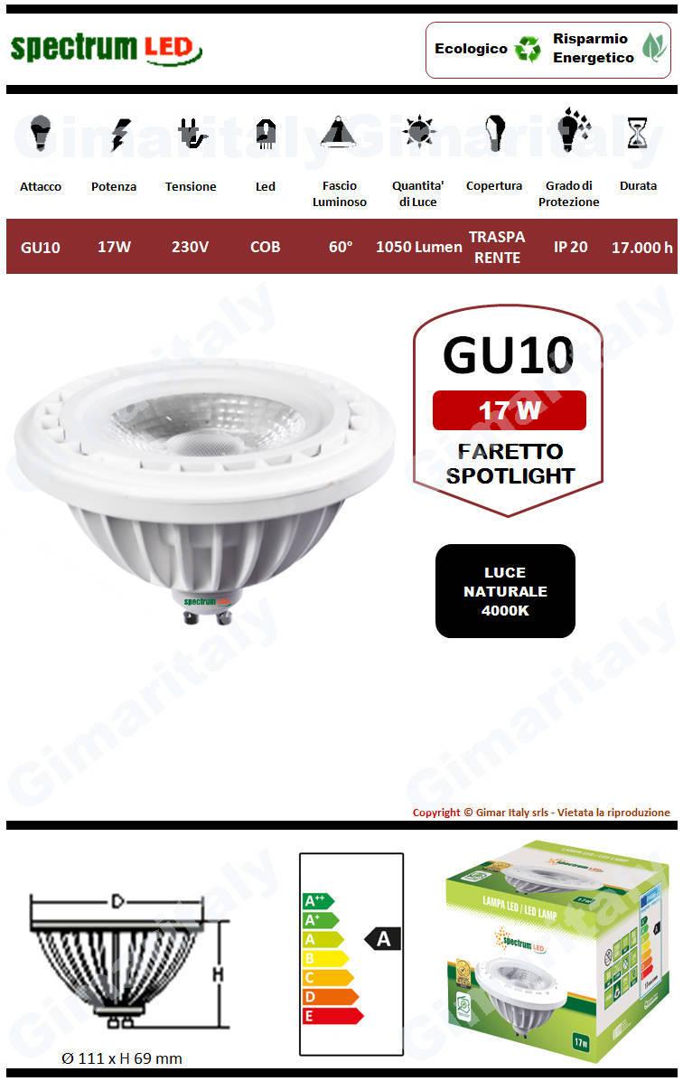 Lampadina Led GU10 17W AR111 Spotlight luce naturale Spectrum