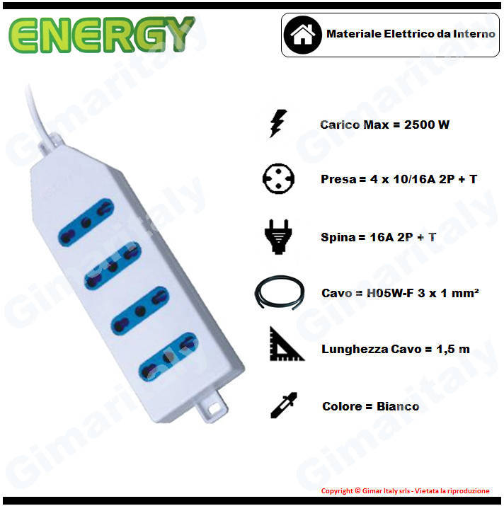 Multipresa 4 posti bianca Energy
