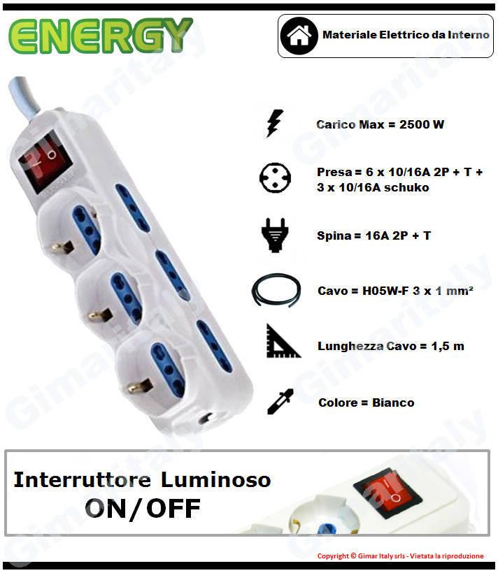 Multipresa 9 posti schuko small con interruttore bianca Energy