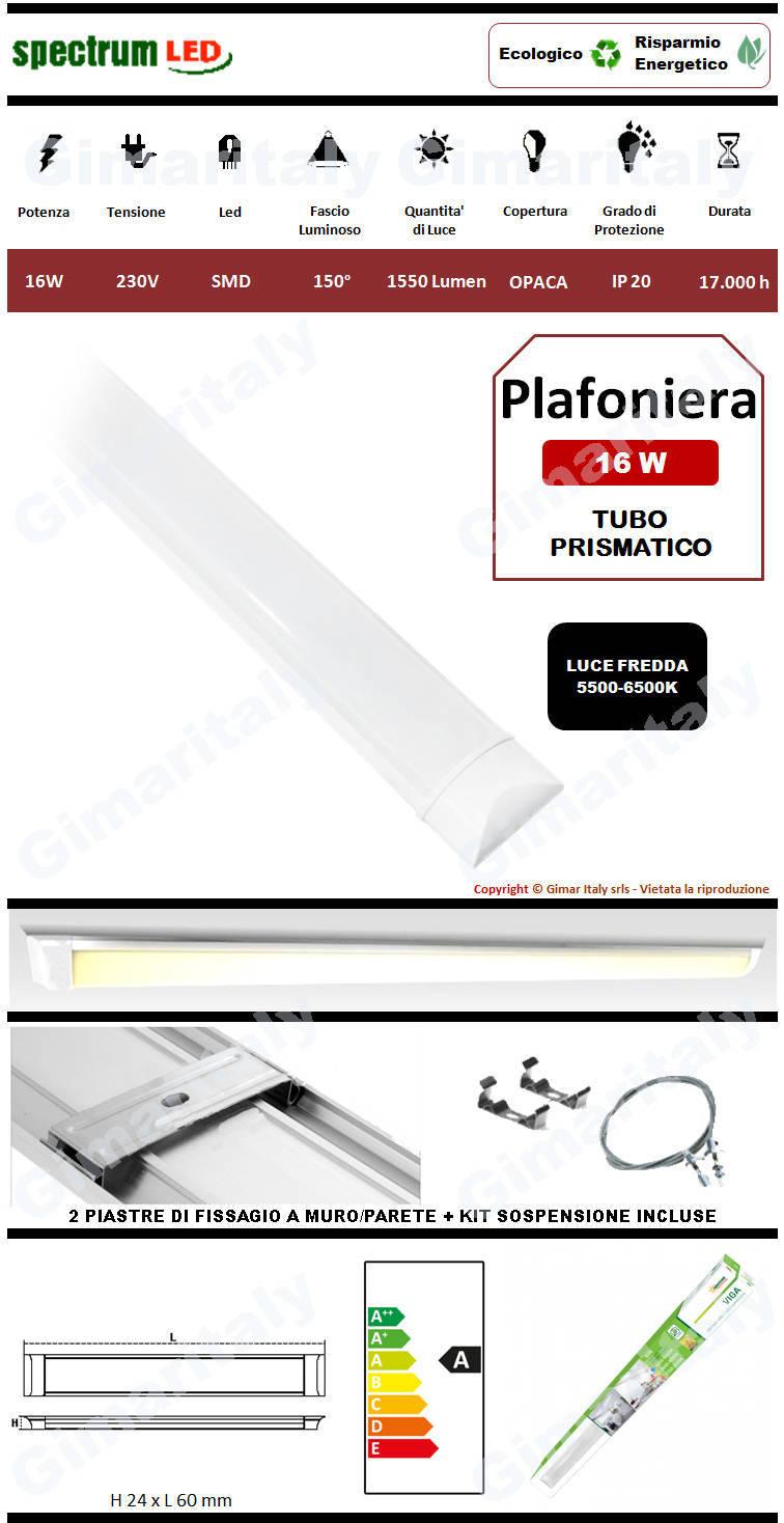 Plafoniera Led Tubo Prismatico 16W 60 cm luce fredda Spectrum