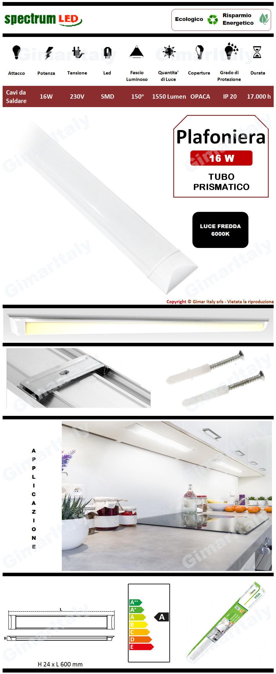 Plafoniera Led Tubo Prismatico Viga 16W 60 cm luce fredda Spectrum