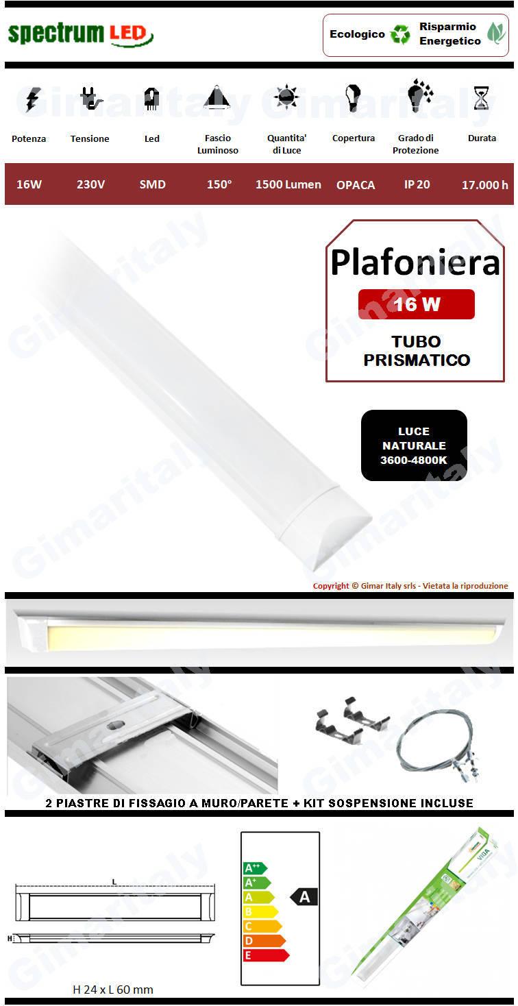 Plafoniera Led Tubo Prismatico 16W 60 cm luce naturale Spectrum