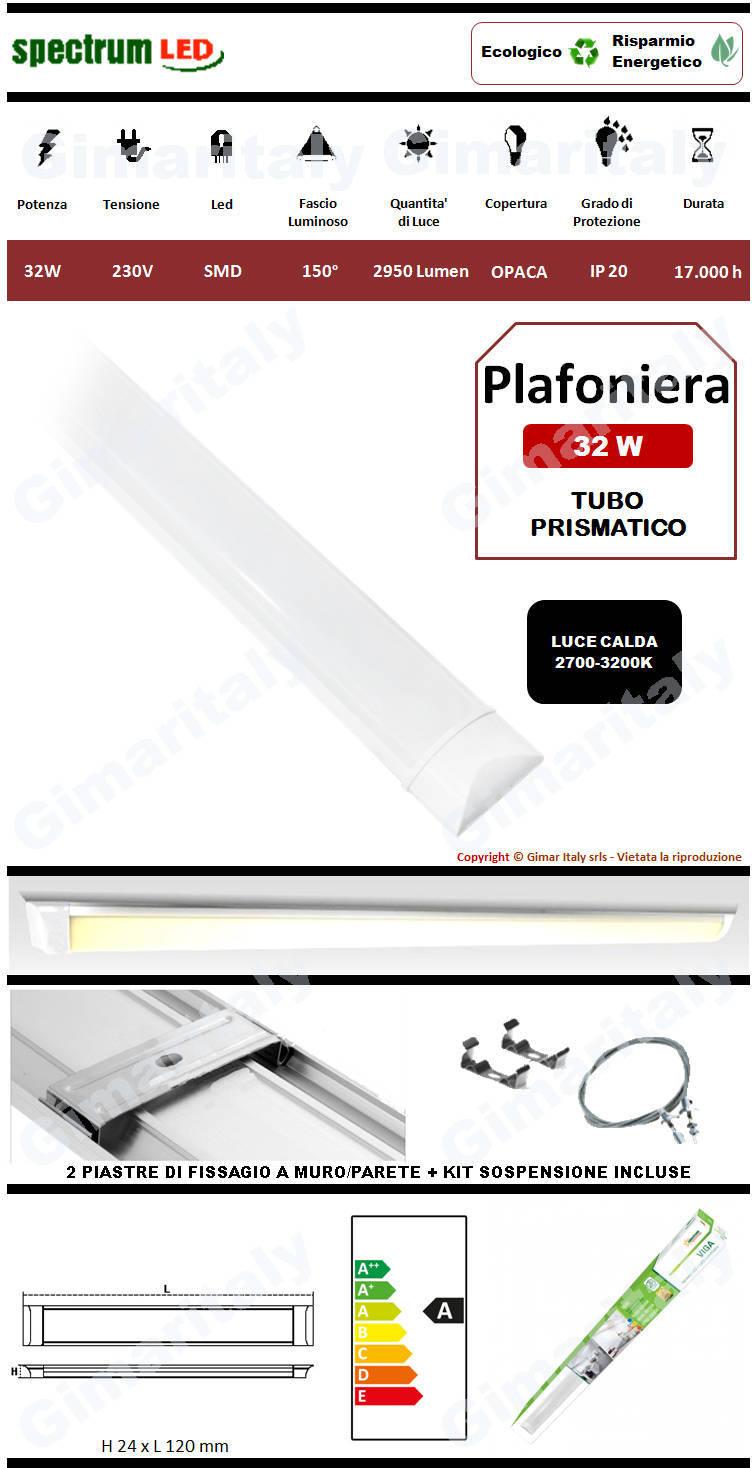 Plafoniera Led Tubo Prismatico 32W 120 cm luce calda Spectrum