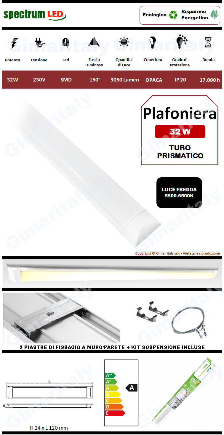 Plafoniera Led Tubo Prismatico 32W 120 cm luce fredda Spectrum