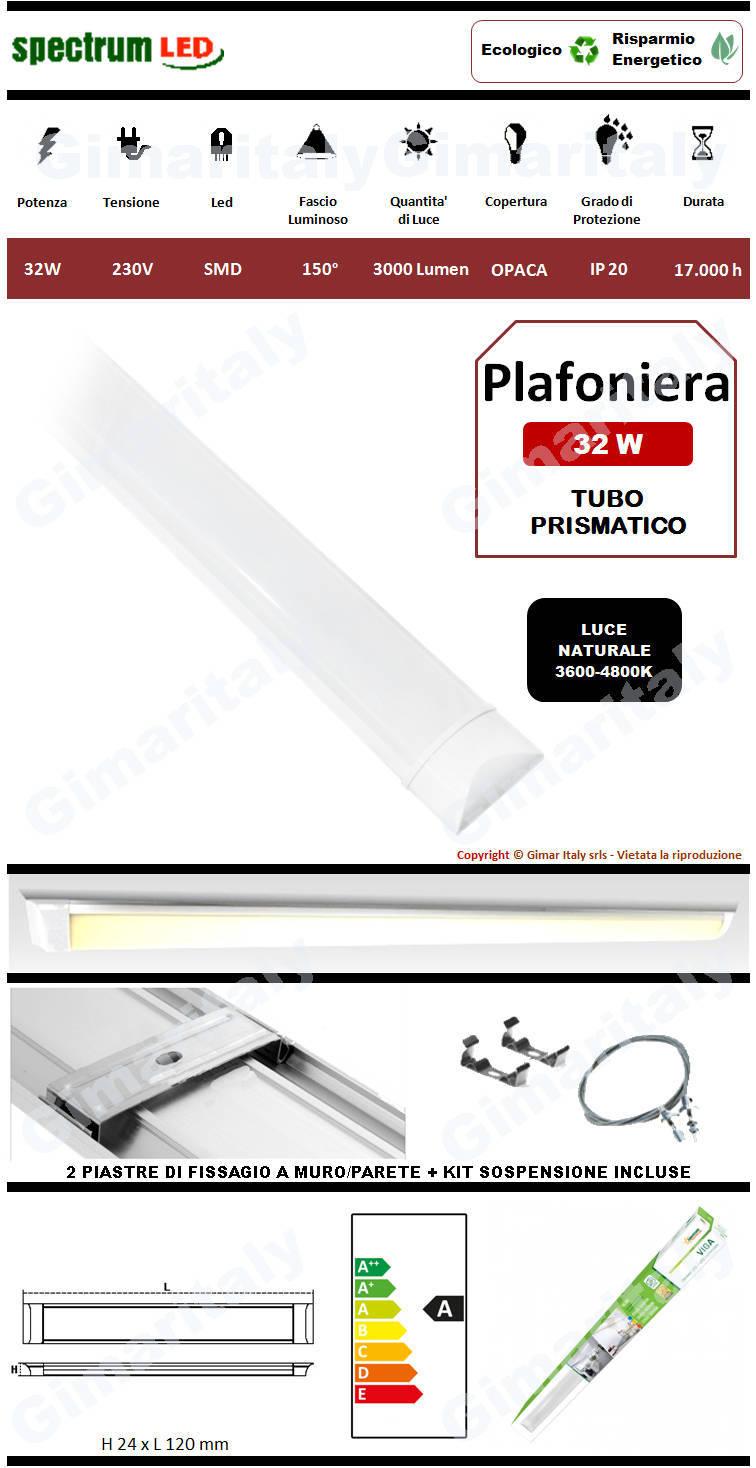 Plafoniera Led Tubo Prismatico 32W 120 cm luce naturale Spectrum