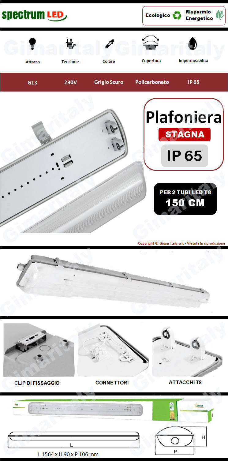 Plafoniera Stagna IP65 2 Tubi Led 150 cm Spectrum