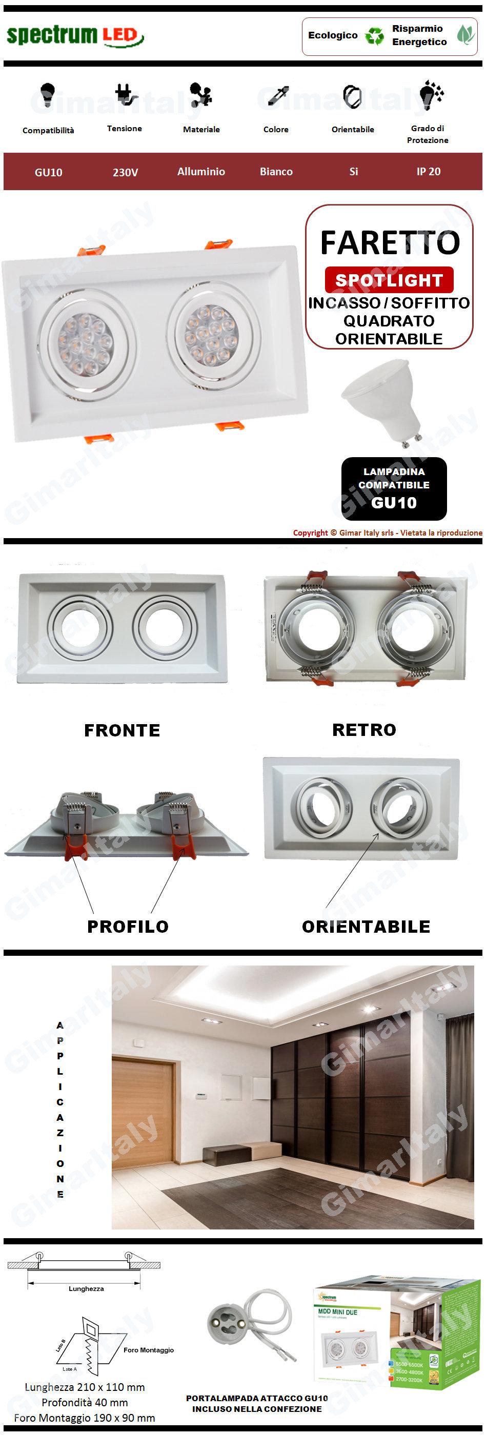 Portafaretto Quadrato Bianco da incasso per 2 lampadine GU10 Spectrum