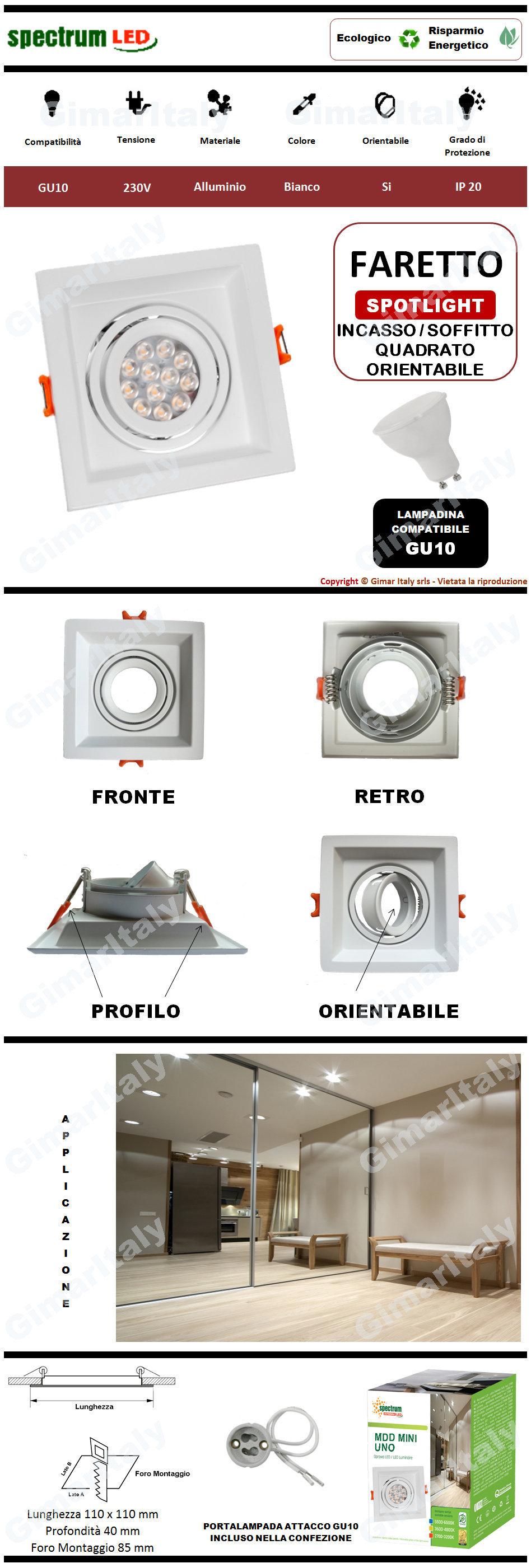 Portafaretto Quadrato Bianco da incasso per lampadine GU10 Spectrum