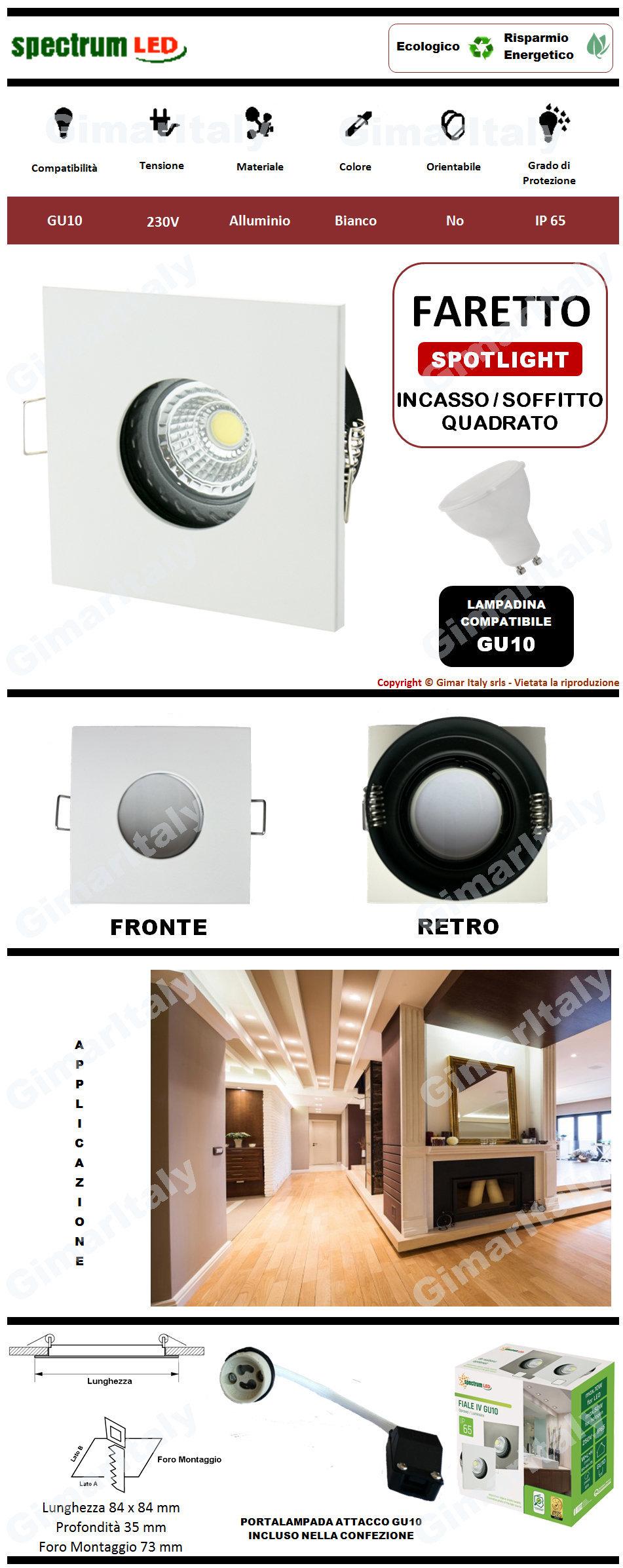 Portafaretto IP65 Quadrato bianco da incasso per lampadina GU10 Spectrum