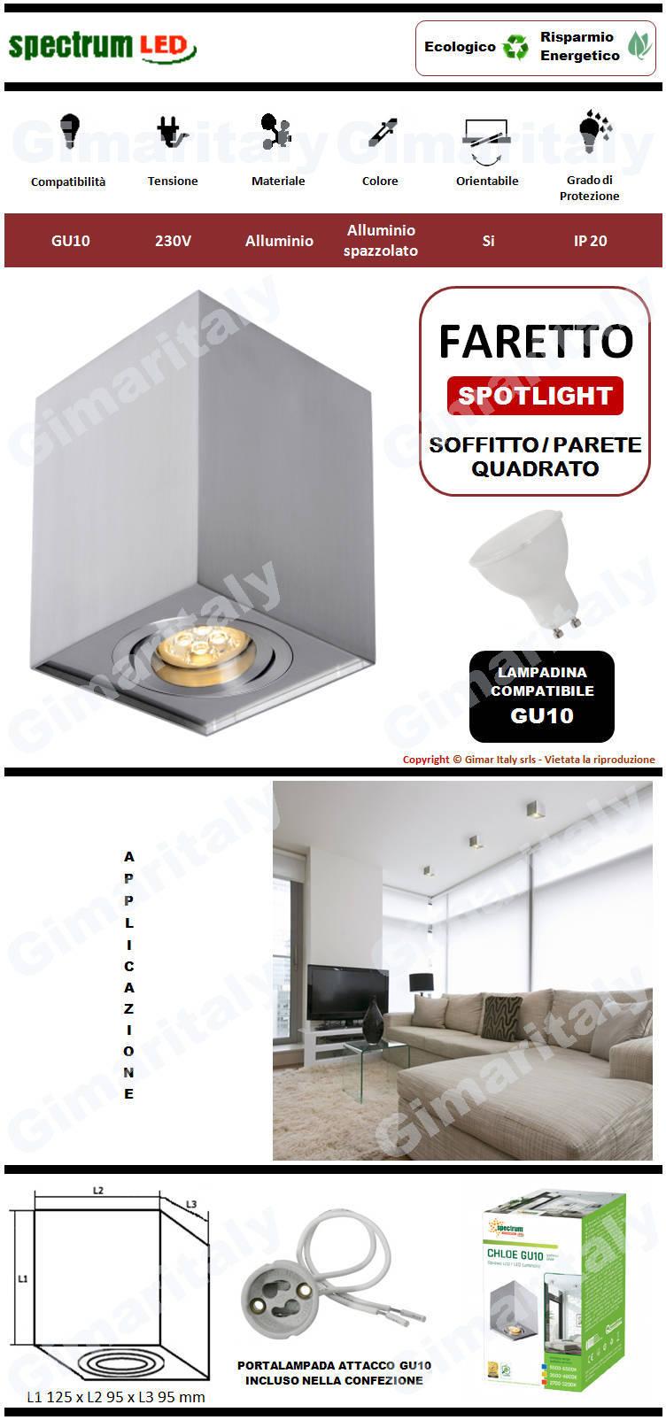 Portafaretto Orientabile Quadrato Grigio Spazzolato da soffitto per lampadina GU10 Spectrum