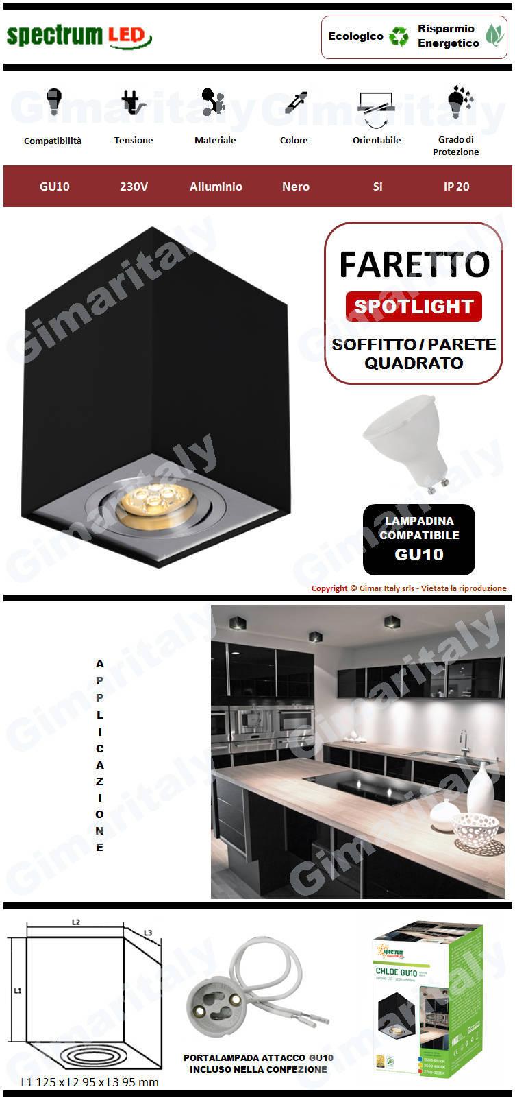 Portafaretto Orientabile Quadrato Nero da soffitto per lampadina GU10 Spectrum