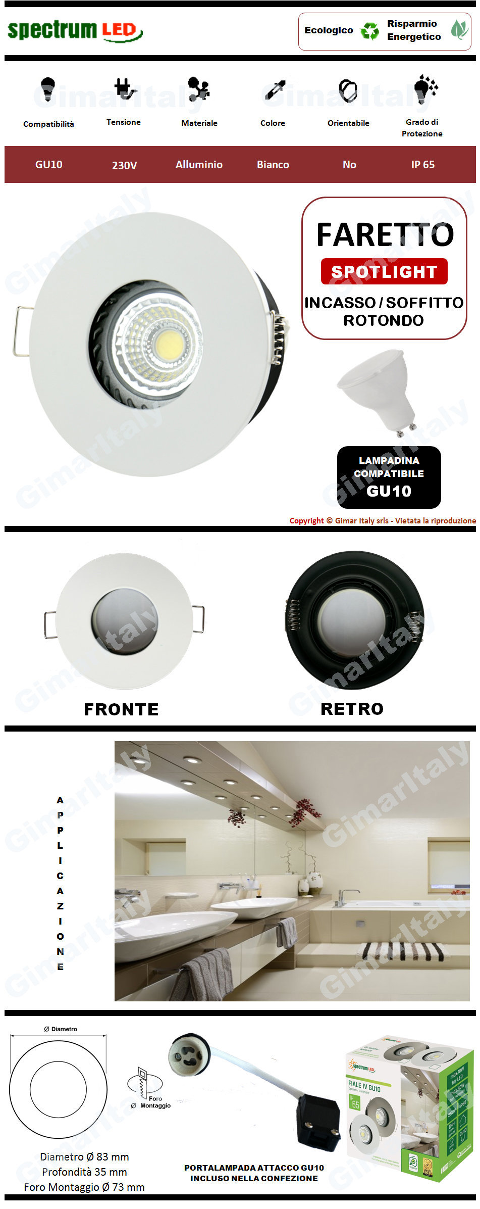 Portafaretto IP65 Rotondo bianco da incasso per lampadina GU10 Spectrum