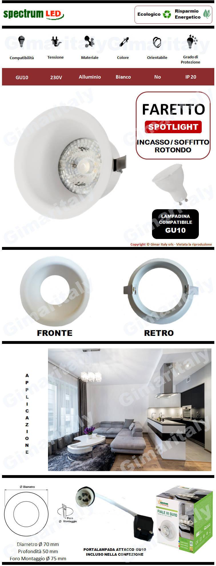 Portafaretto Rotondo Bianco da incasso per lampadina GU10 Spectrum