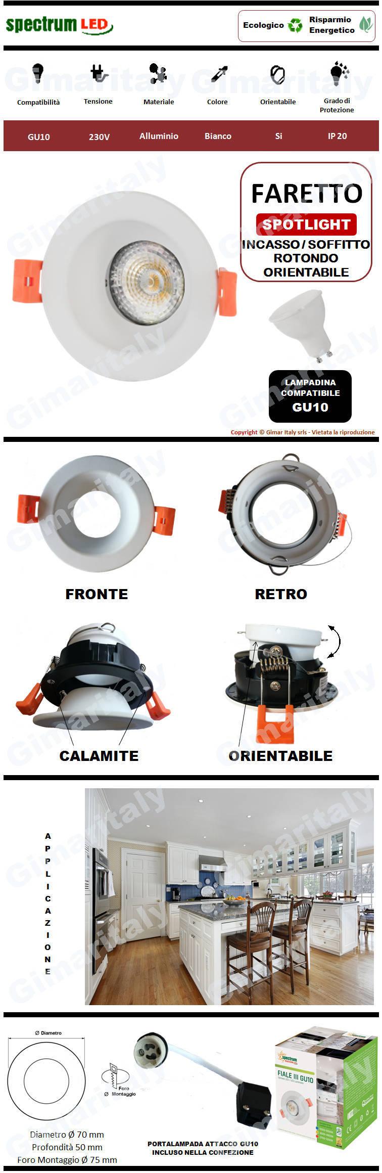 Portafaretto Rotondo Orientabile bianco da incasso per lampadina GU10 Spectrum