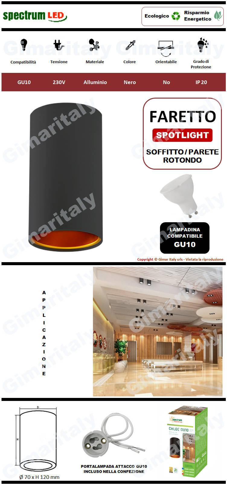 Portafaretto Rotondo Nero da soffitto per lampadina GU10 Spectrum