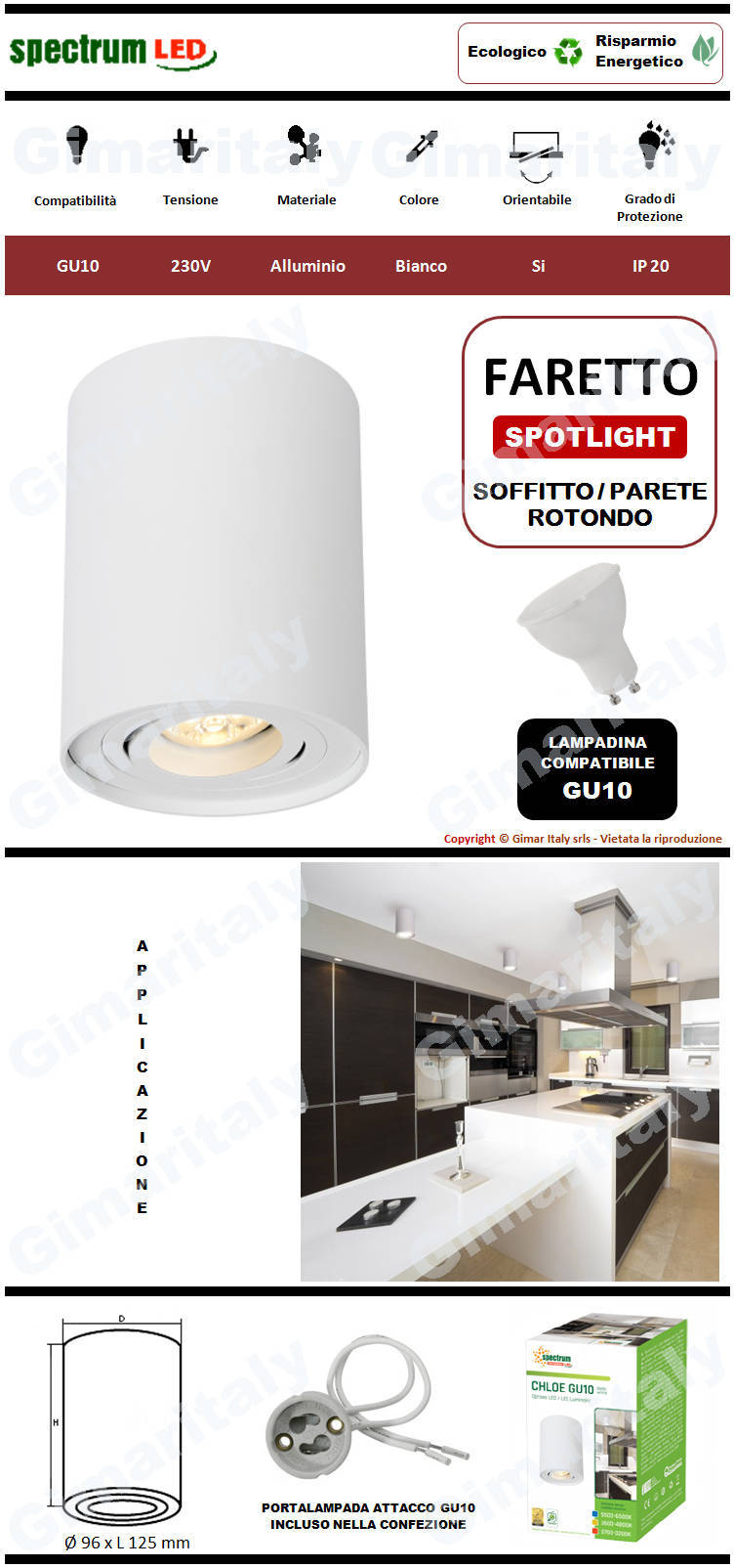 Portafaretto Orientabile Rotondo Bianco da soffitto per lampadina GU10 Spectrum